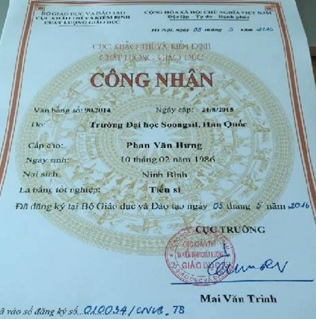 Giấy công nhận văn bằng của ông Phan Văn Hưng do Cục Khảo thí và Kiểm định Chất lượng Giáo dục (Bộ GD&ĐT) cấp tháng 5/2016. Ảnh: VietNamNet.