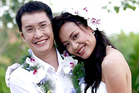 Vợ chồng diễn viên Hồng Ánh – nhà phê bình Nguyễn Thanh Sơn trong ngày cưới