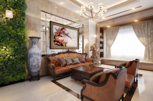 Vườn tường xanh giúp làm mát không gian phòng khách.
