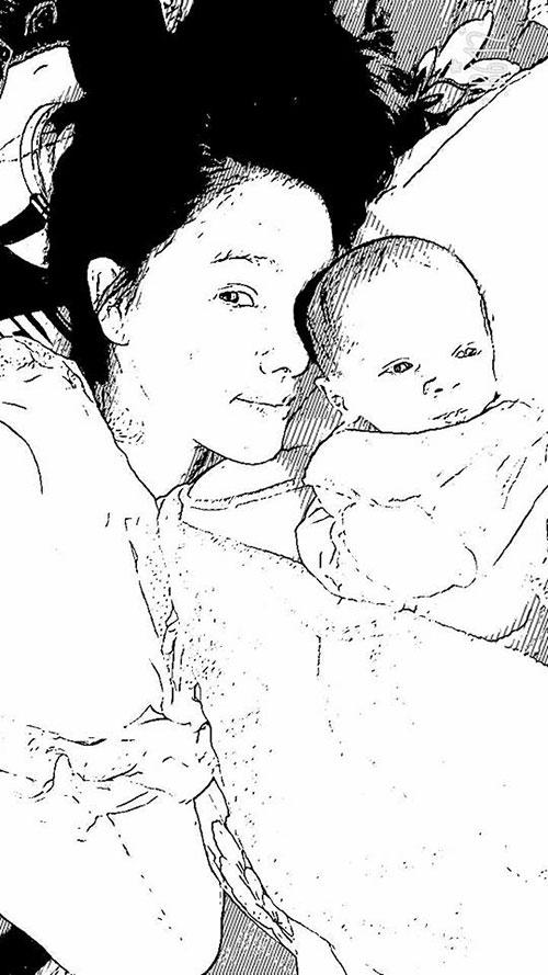 Kỳ Hân chỉnh ảnh chụp cùng con trai thành đen trắng khi đăng lên Facebook.