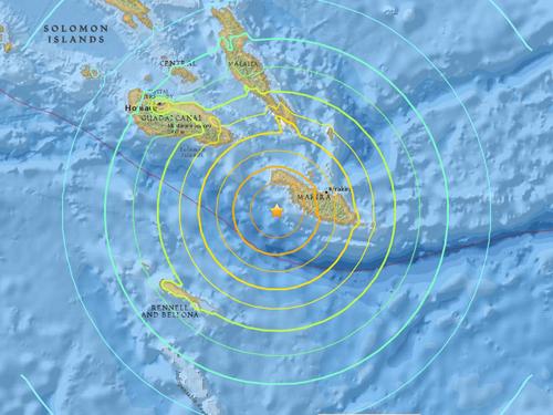 Vị trí xảy ra động đất ở ngoài khơi đảo quốc Solomon, nam Thái Bình Dương sáng sớm nay. Ảnh: USGS