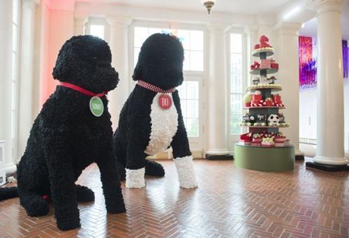 Tạo hình hai chú chó nhồi bông Obama Sunny và Bo của gia đình Obama được đặt ở Cánh Đông của Nhà Trắng.