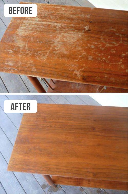 Bàn gỗ sử dụng lâu ngày sẽ bị xước mặt, cáu bẩn. Nhúng một miếng vải trong hỗn hợp ½ chén dấm với ½ chén dầu ô liu và lau lên bề mặt gỗ. Kết quả bề mặt sẽ trông như mới.