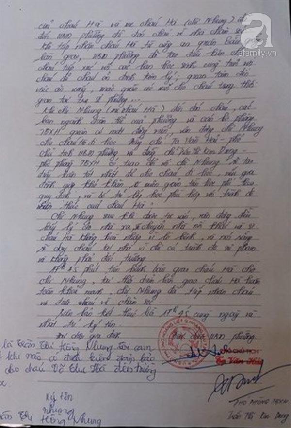 Biên bản bàn giao cháu H cho người mẹ