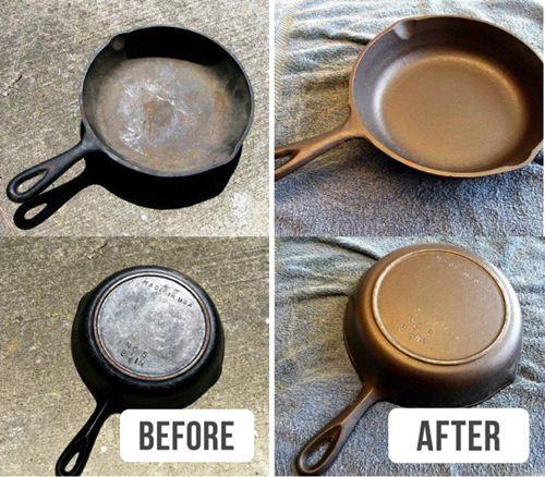 Biến chảo gang cũ sạch bong như mới nhờ 1 ít giấm và nước vệ sinh lò nướng.