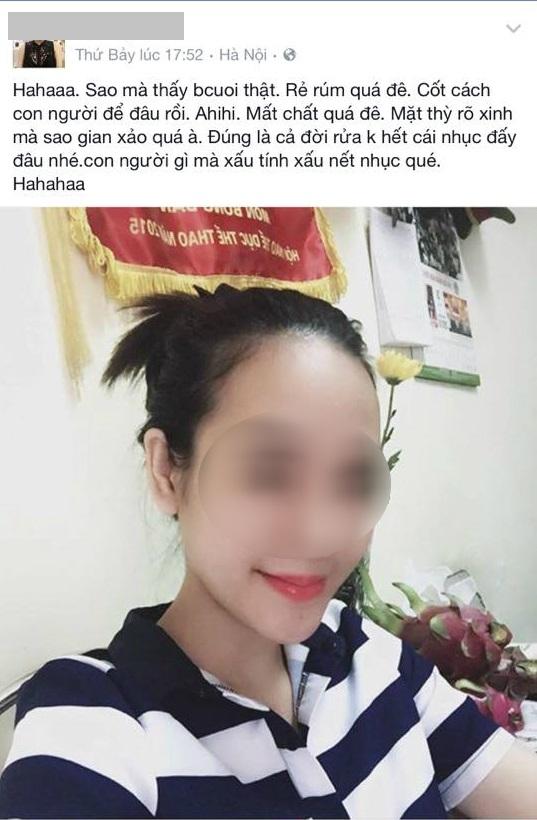 Status H.X được cho là ngầm nói xấu vợ của người tình trên facebook trước khi bị khóa.