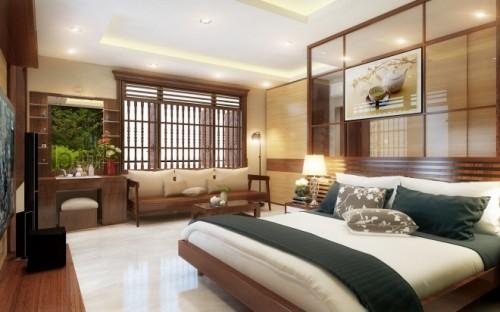 Hệ thống cửa gỗ giúp giảm nhiệt cho phòng ngủ.