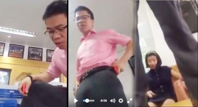 Ông Phan Văn Hưng có hành động đứng lên bàn dùng lời lẽ thô tục chửi học sinh. Ảnh: Cắt từ clip