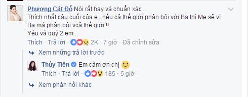 Cát Phượng động viên vợ chồng Thủy Tiên - Công Vinh bằng bình luận ngay trong status.