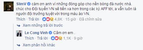 Slim V bình luận bên dưới bài viết tuyên bố giải nghệ của Công Vinh để gửi lời động viên đến anh.