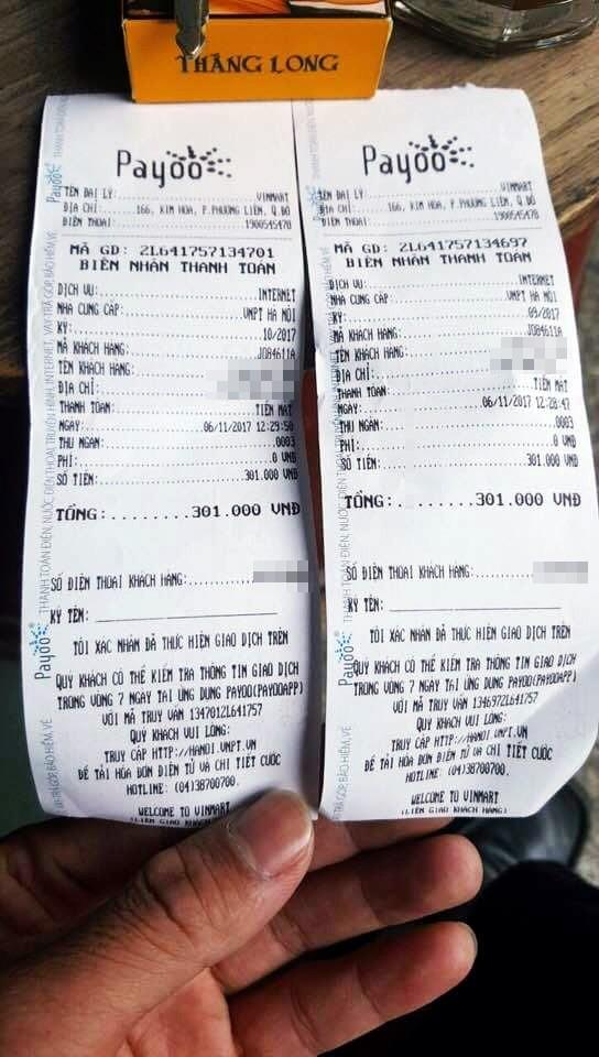Hóa đơn thanh toán tiền tháng 9 và 10 của gia đình ông H. Ảnh:K.O