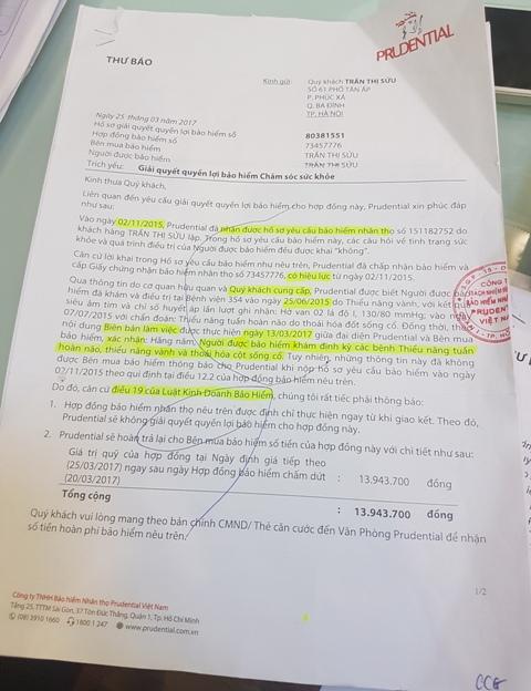 Văn bản yêu cầu chấm dứt hợp đồng của công ty Bảo hiểm Prudential gửi cho bà Trần Thị Sửu. Ảnh: Tác giả