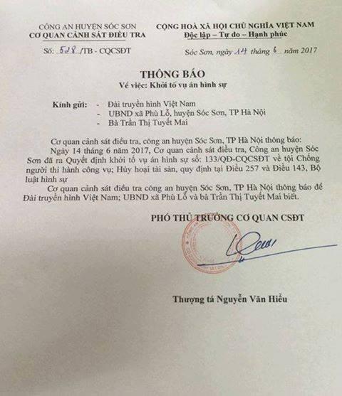 Thông báo của Công an huyện Sóc Sơn (Hà Nội) về sự việc.