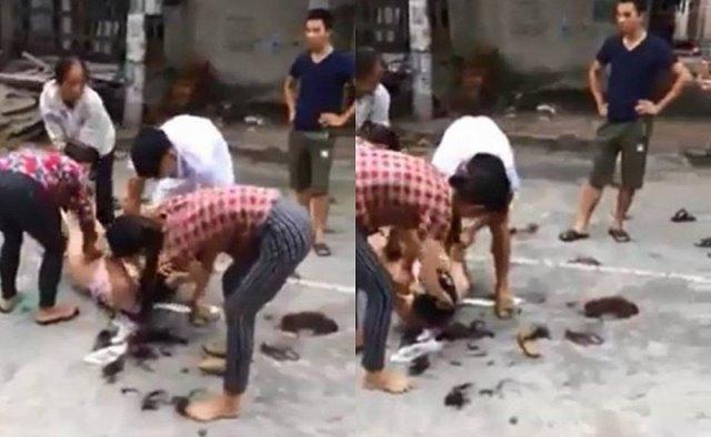 Hình ảnh vụ đánh ghen tại Vĩnh Phúc gây xôn xao dư luận. Ảnh cắt từ clip.