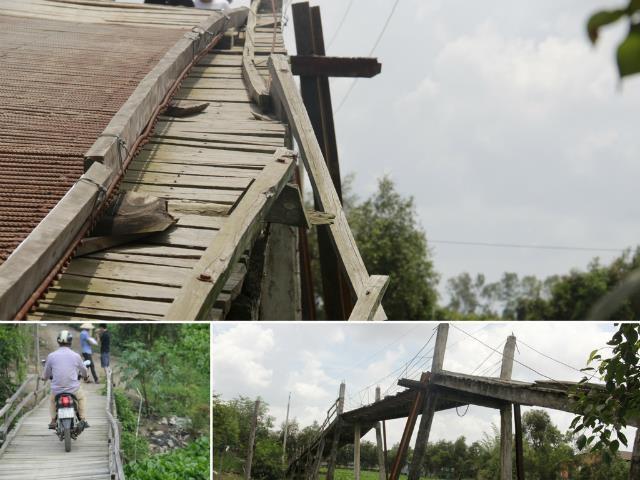 Cây cầu ván trụ bê tông chênh vênh, èo uột này đã gây ra không ít tai nạn cho người dân xã Bình Phong Thạnh.