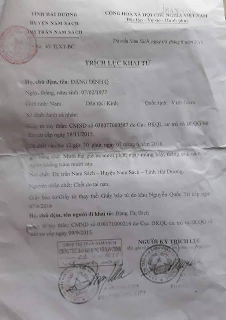 Trích lục khai tử xác nhận nguyên nhân tử vong của anh Đặng Đình Q. do tai nạn. Ảnh: PV