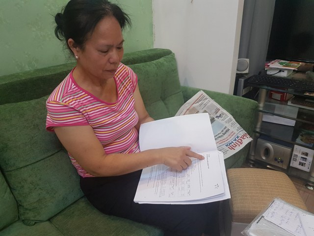 Bà Trần Thị Sửu (Ba Đình, Hà Nội) - Người tố Bảo hiểm Prudential gây khó dễ, o ép và tự ý hủy hợp đồng. Ảnh: PV