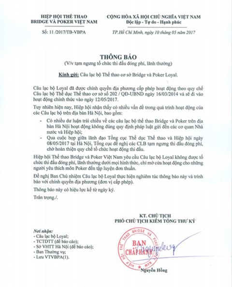 Từ tháng 5/2017, Hiệp hội Bridge & Poker Việt Nam đã có thông báo gửi các CLB thành viên yêu cầu ngừng tổ chức các giải thi đấu đóng phí, lĩnh thưởng. Ảnh: PV
