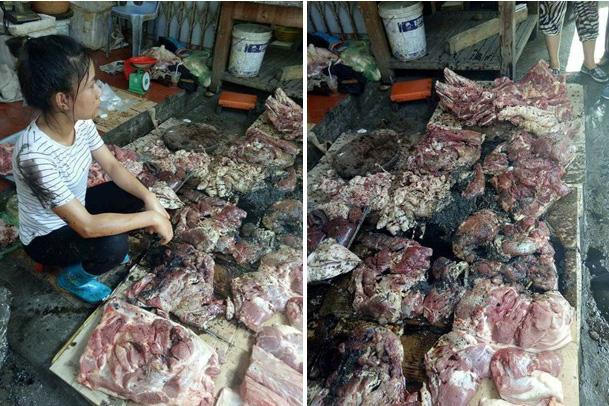 Người phụ nữ bị tiểu thương đổ dầu luyn, chất thải