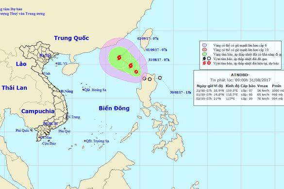 Vị trí và hướng di chuyển của áp thấp nhiệt đới trên Biển Đông. Ảnh: Trung tâm Dự báo KTTVTƯ.
