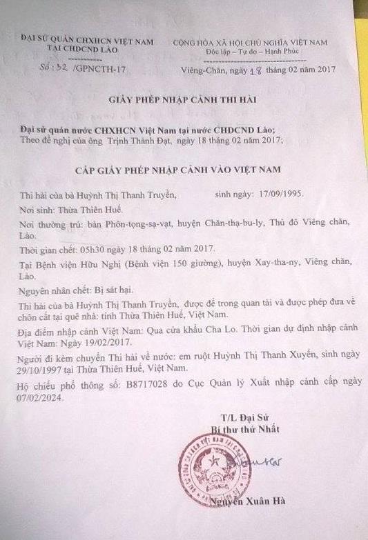 Đại sứ quán Việt Nam tại Lào xác nhận nguyên nhân chị Truyền tử vong là do bị sát hại. Ảnh: Lê Chung
