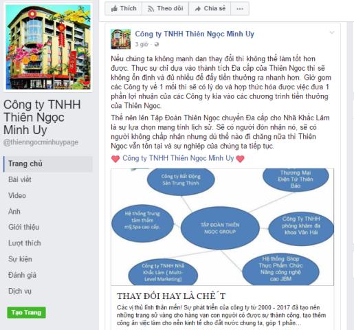 Thông báo lý giải việc chấm dứt hoạt động đa cấp được đăng tải trên Fanpage của Công ty Thiên Ngọc Minh Uy