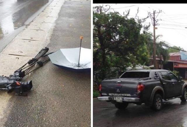Chiếc xe ô tô bán tải được cho là đã đâm vào nhóm phóng viên VTV khi đang tác nghiệp và nghiền nát chiếc máy quay phim trị giá khoảng 1 tỷ đồng.