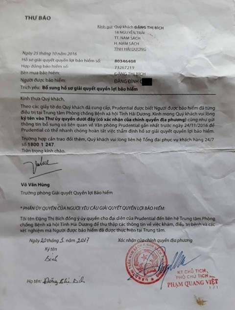 Thư báo đề nghị chị Đặng Thị Bích ủy quyền cho công ty Bảo hiểm Prudential đến Trung tâm phòng chống bệnh xã hội tỉnh Hải Dương để tìm hiểu thông tin sức khỏe của anh Đặng Đình Q. Ảnh: PV