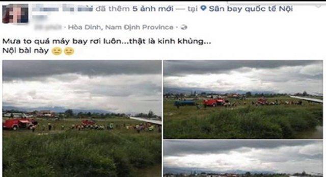 Thông tin rơi máy bay được đăng trên Facebook. Ảnh chụp màn hình