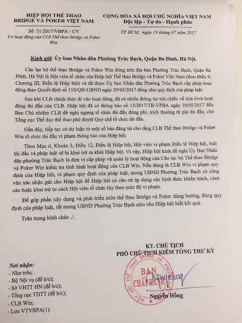 Văn bản của Hiệp hội Bridge & Poker Việt Nam gửi đến các phường (nơi cấp phép cho các CLB Poker) đề nghị kiểm tra hình thức hoạt động.