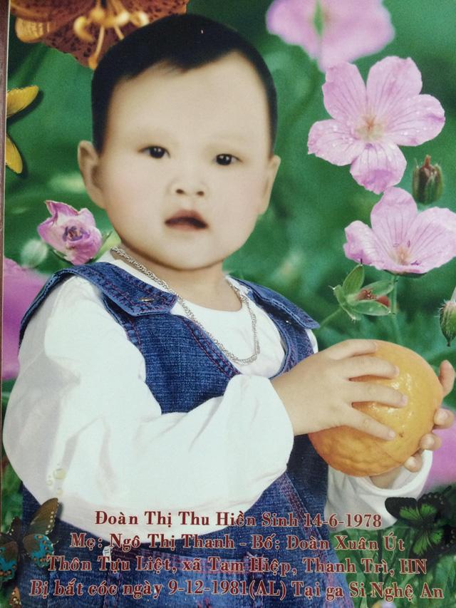 Con gái Đoàn Thị Thu Hiền của gia đình ông Út bị thất lạc từ năm 3 tuổi trên chuyến tàu từ Vinh ra Hà Nội vào năm 1981. Ảnh: Gia đình cung cấp