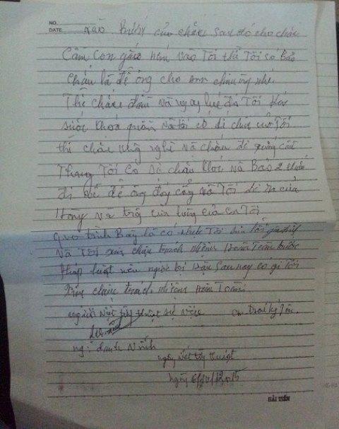 Đơn thú tội của Nguyễn Danh Vĩnh dưới sự chứng kiến của gia đình nạn nhân.