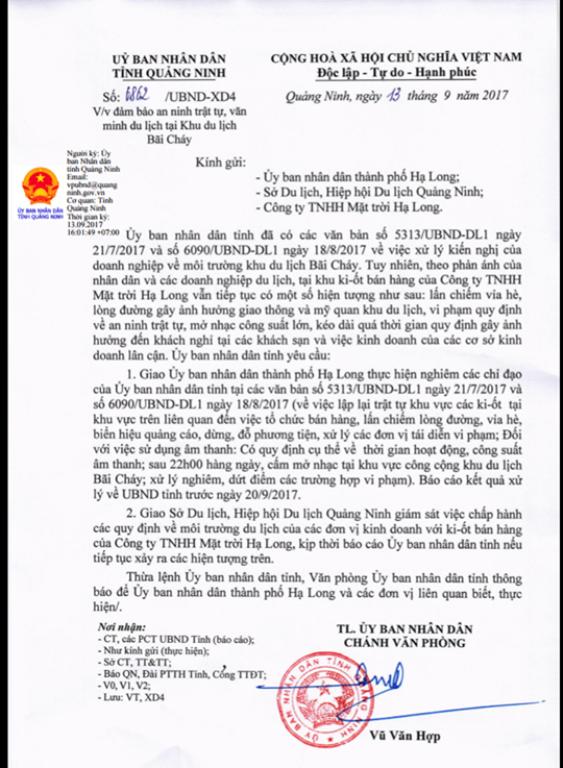 Công văn UBND tỉnh Quảng Ninh nghiêm cấm mở nhạc sau 22h tại khu du lịch Bãi Cháy. Ảnh: Đ.Tùy