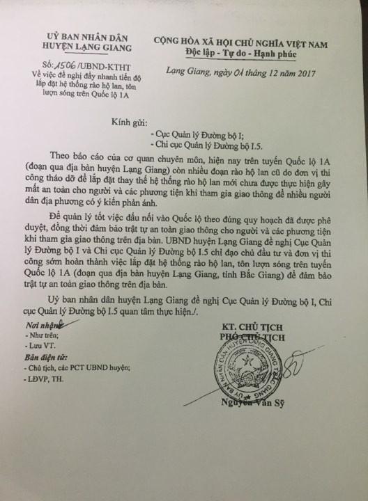 Công văn của UBND huyện Lạng Giang gửi Cục Quản lý Đường bộ I và Chi cục Quản lý Đường bộ I.5 ngày 1/12/2017