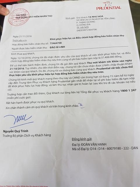 Văn bản từ công ty Prudential gửi cho chị Tạ Như Hoa không chấp nhận khôi phục hợp đồng của cháu Đào Ái Linh do chưa đến khám sức khỏe trực tiếp tại công ty.