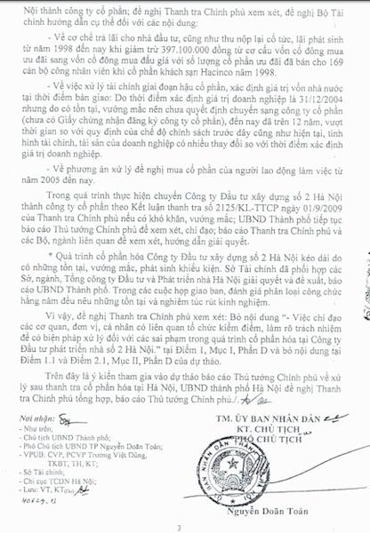 UBND TP Hà Nội đã có Công văn số 5080/UBND-KT do ông Nguyễn Doãn Toản - Phó chủ tịch ký gửi Thanh tra Chính phủ ngày 16/10/2017.