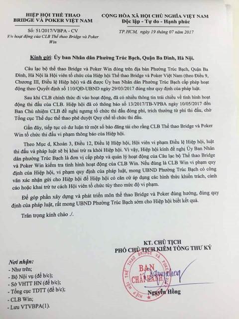 Sau gần 1 tháng gửi văn bản đến các phường (nơi cấp phép cho các CLB Poker) đề nghị kiểm tra hoạt động nhưng đến nay Hiệp hội Bridge & Poker Việt Nam vẫn chưa nhận được phúc đáp. Ảnh: PV