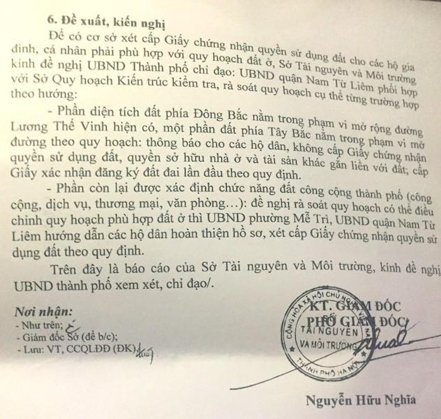 Công văn số 7825/STNMT-CCQLĐĐ gửi UBND TP Hà Nội của Sở Tài nguyên và Môi trường Hà Nội.