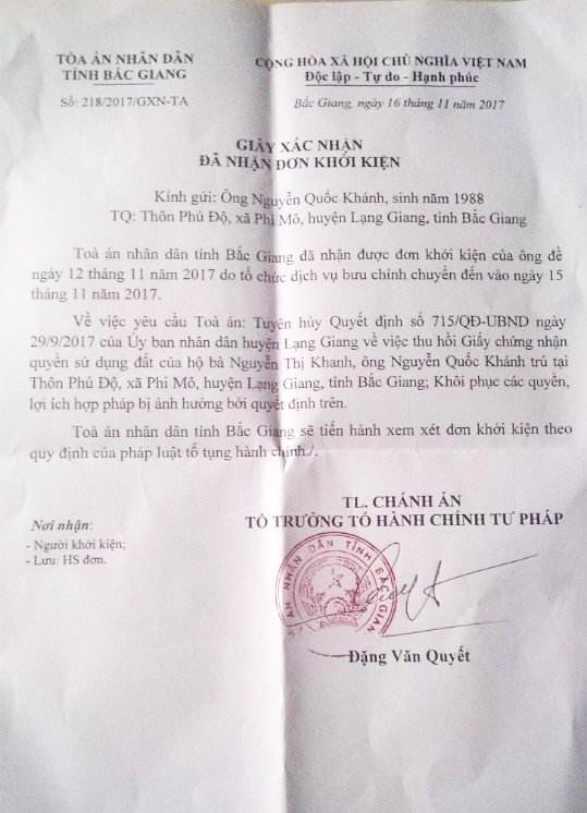 Giấy xác nhận đã nhận đơn khởi kiện của TAND tỉnh Bắc Giang gửi ông Nguyễn Quốc Khánh