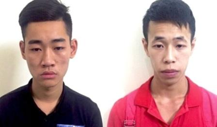 Đối tượng Tú và Cường bị bắt giữ tại cơ quan điều tra. Ảnh: TL