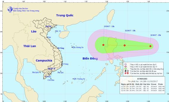 Dự báo đường đi của áp thấp nhiệt đới. Ảnh:TT Dự báo Khí tượng Thủy vănTrung ương