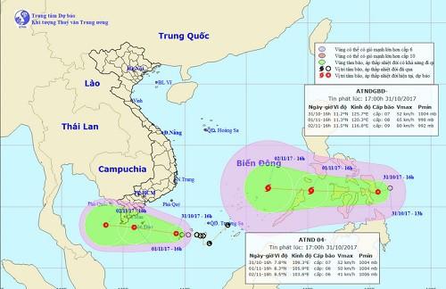 Hai đợt áp thấp gây ảnh hưởng tới vùng biển phía Nam nước ta.