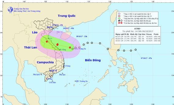 Đường đi của áp thấp nhiệt đới. Ảnh: NCMHF