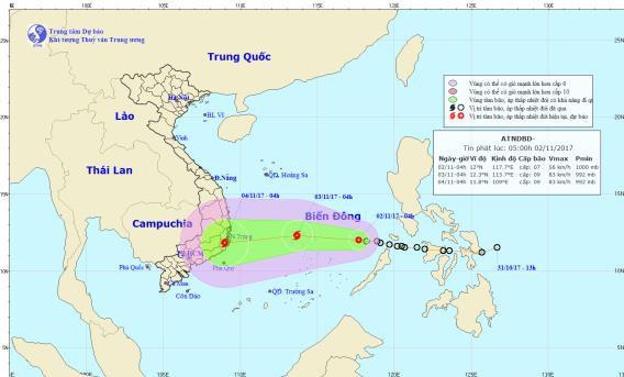 Đường đi của áp thấp nhiệt đới trên biển Đông. Ảnh: NCHMF