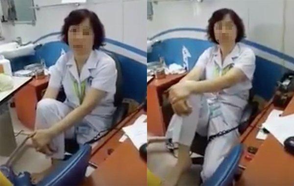 Người được phản ánh trong clip là một bác sĩ thuộc khoa Mắt trẻ em, Bệnh viện Mắt Trung ương. Ảnh cắt từ clip