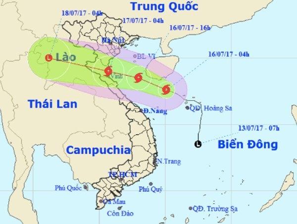 Bão số 2 sẽ đổ bộ Thanh Hoá - Hà Tĩnh. Ảnh: NCHMF
