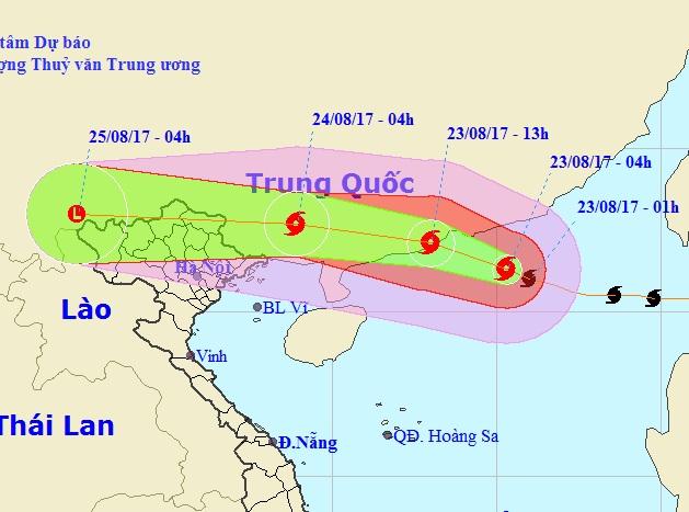 Hướng di chuyển của cơn bão số 6. Anh: TL
