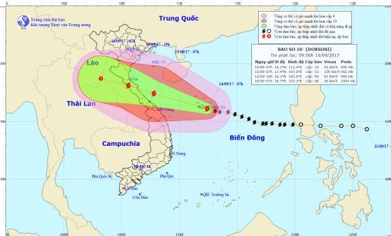 Vị trí và đường đi của bão số 10 lúc 9h sáng. Ảnh: NCHMF