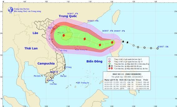 Vị trí và đường đi của cơn bão trên biển Đông. Ảnh: NCMFM