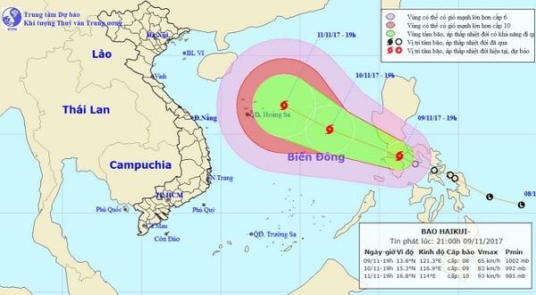Áp thấp nhiệt đới đã mạnh lên thành bão trên Biển Đông tên quốc tế là Haikui.